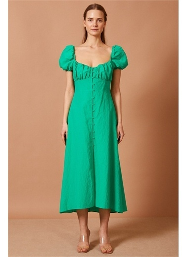 Never More Balon Kol Yeşil Elbise Yeşil